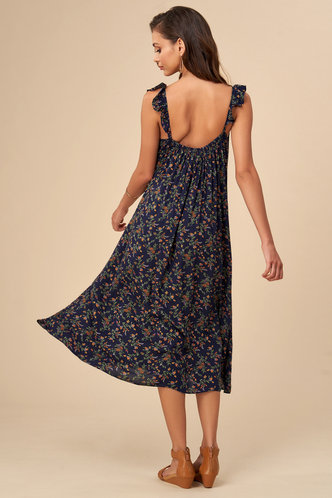 back_Daydreaming Dark Navy Floral Print Midi Dress