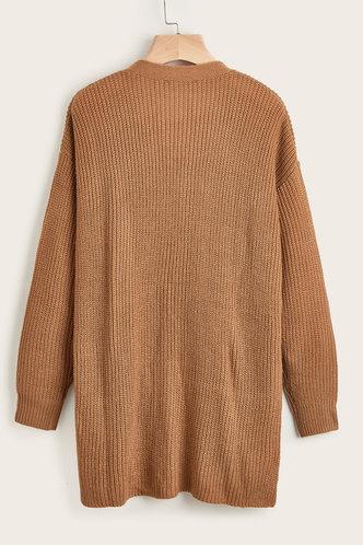 back_Makes Me Stronger Camel Rib-Knit Cardigan
