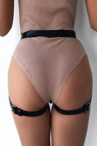 back_Starr Elsie Black Leg Garter Buckle Belt