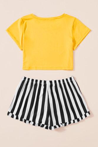 back_Eileen Jhurnal Yellow And Striped Loungewear Set