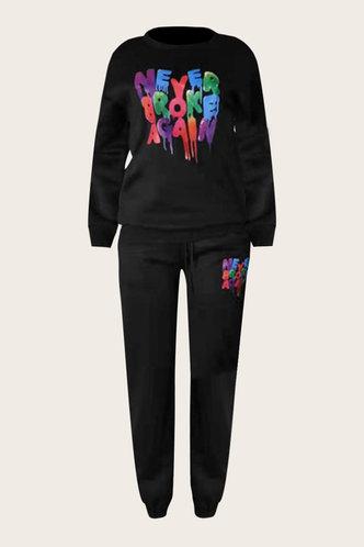 back_Letter Print Pocket Pullover Black Sweatshirt Set