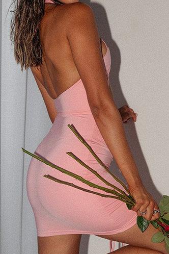 back_Davina Eleanore Pink Haltet Cutout Dress