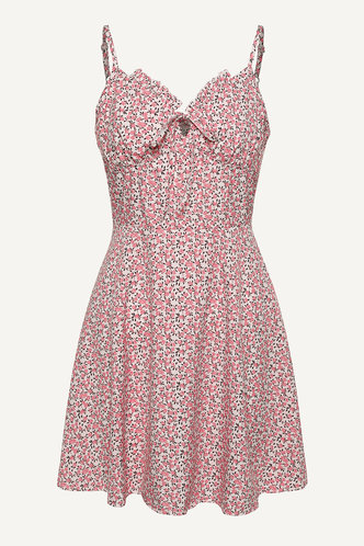 back_Eleanora Elaine Baby Pink Floral Print Tie Front Dress