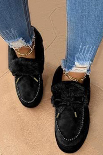 front_Plain Flat Round Toe Black Boots