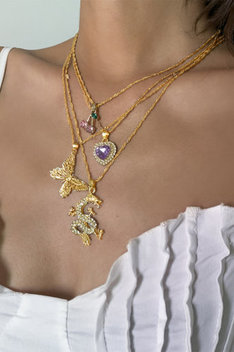 front_No pattern  No special process Gold Necklaces