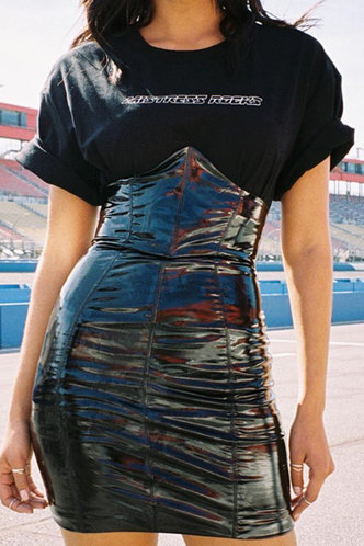 front_Sunny Elma Black Skinny Skirt