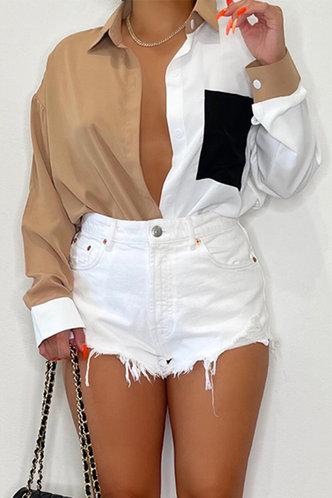 back_Paulina Evangeline Colorblock Button Up Longline Blouse