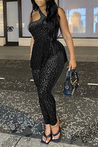 front_Sexy Leopard Print  Asymmetrical Neck Black Jumpsuits
