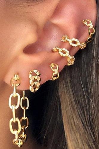 front_Janey Elizabeth Gold Hoop Chain Earring 6pcs