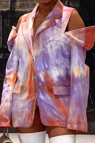 front_Mock Tie Dye  Long Button Distressed Tie Dye Outerwear