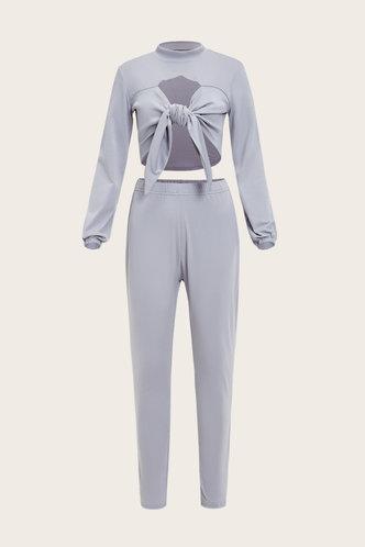 back_Plain Knot Grey Plus Size Activewear Sets