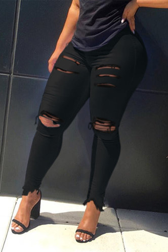 back_High Waist Pencil Pants Black Women Jeans