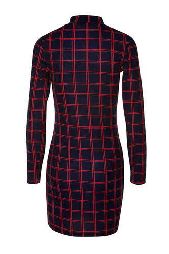 back_Mock Up Blue And Red Plaid Bodycon Dress