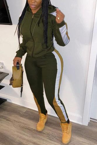 front_Pocket Zipper Up Army Green Pants Sets