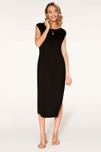front_You Are Black Midi Dress