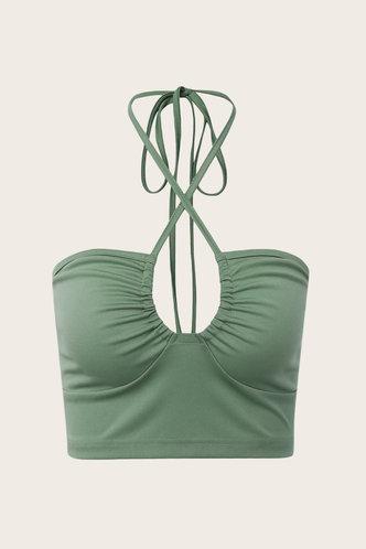 back_Eartha Hark Green Crisscross Halter Neck Crop Top