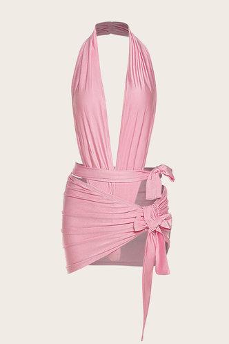 back_Shopping Vacation Bar/Nightclub Party Sleeveless Halter Pink Dresses