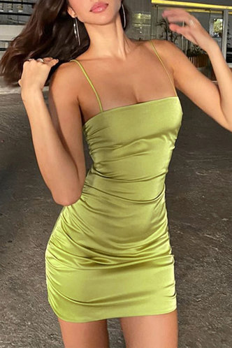 front_Margery Edwina Miint Green  Ruched Dress