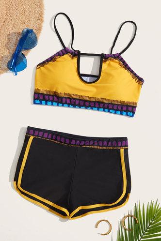 back_Yedda Elaine Black And Yellow Bikini