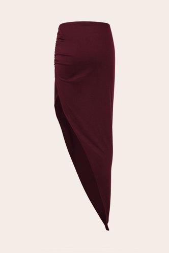 back_Mid Waist Plain Shirred Red Wine Skirts