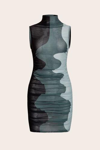 back_Helena Elma Black Mesh Bodycon Dress