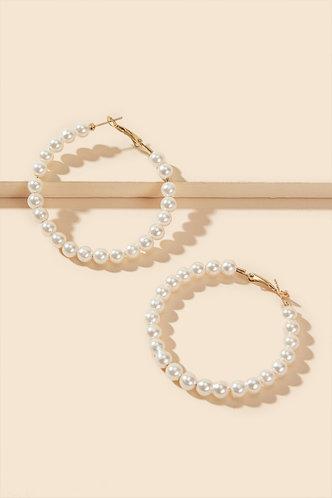back_Sabina Eden White Faux Pearl Beaded Hoop Earrings 1pair