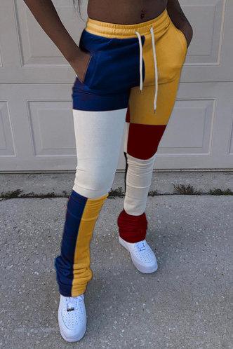 front_Georgina Elma Yellow Colorblock Pants