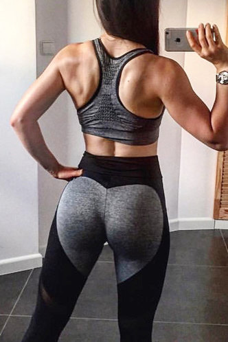 front_Angell Eden Black And Grey Activewear Bottom