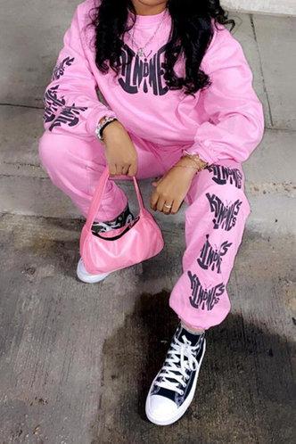 back_Letter Elastic Waist Pink Pants Set