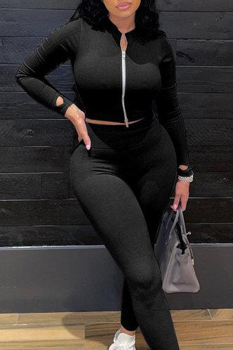 back_Plain Zipper Up Black Pants Sets
