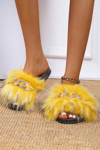 front_Katherine Ethel Yellow Plush Slides