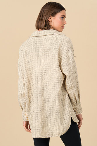 back_Pearly {color} Button Front Coat