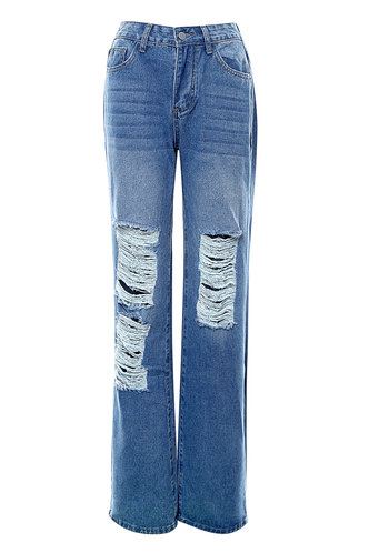 front_Tore Up {Color} Distressed Baggy Jeans