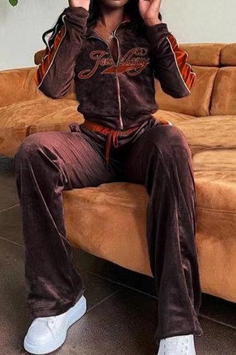 back_Letter  Zipper Up Brown Pants Sets