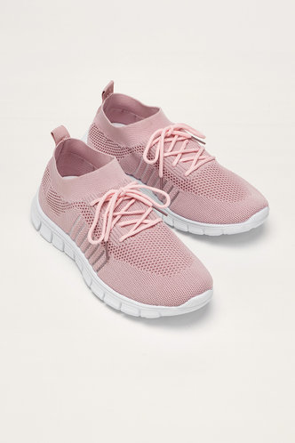 front_Honey Edith Pink Lace Up Front Mesh Sneakers
