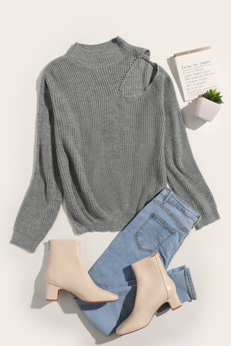 back_Suzan Eileen Grey Cold Shoulder Sweater