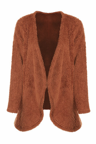 front_All The Feels Rust Red Teddy Cardigan