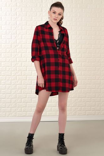 back_Classic Red Plaid Shirt Dress
