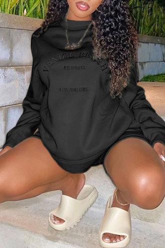 front_Casual Crew Neck Letter Print  Black Sweatshirts & Hoodies