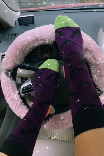 front_Animal Colorblock Purple Socks & Tights