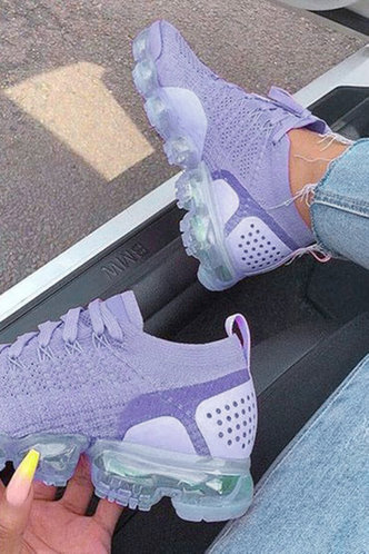 back_Plain Lace Up Flat Round Toe Purple Sneakers