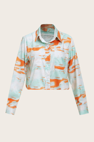 back_Tie Dye Long Sleeve Blue And Brown Blouses