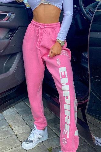 back_Mid Waist Letter  Pink Sweatpants