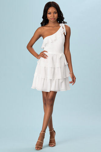 front_Smile And Wink White Mini Dress
