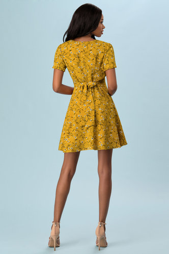 back_Sweetest Love Mustard Yellow Floral Print Mini Dress