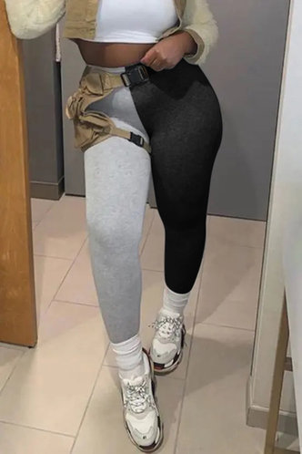 front_Mid Waist Color Block Pencil Pants Black And Grey Leggings