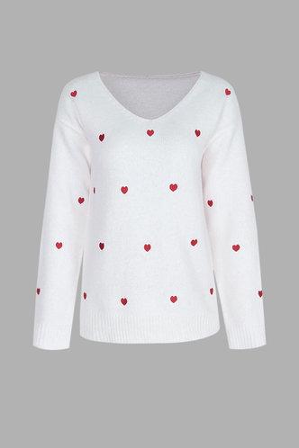 back_Lara Evangeline White Plunging Neck Sweater