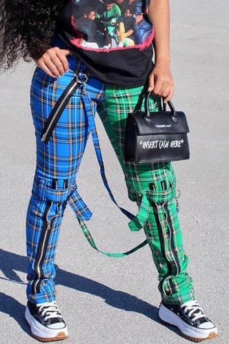 front_Estella Elma Blue And Green Plaid Pants