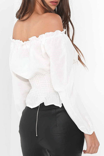 back_Debby Nakan White Off Shoulder Puff Sleeve Blouse