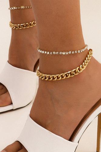 front_Fanny Elma Gold Rhinestone Charm Anklet